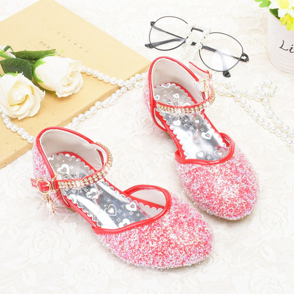 low priced ffa31 c9314 Spring models Princess shoes Girls Crystal High-heeled Children Red Shoes  Little girl Shining show
