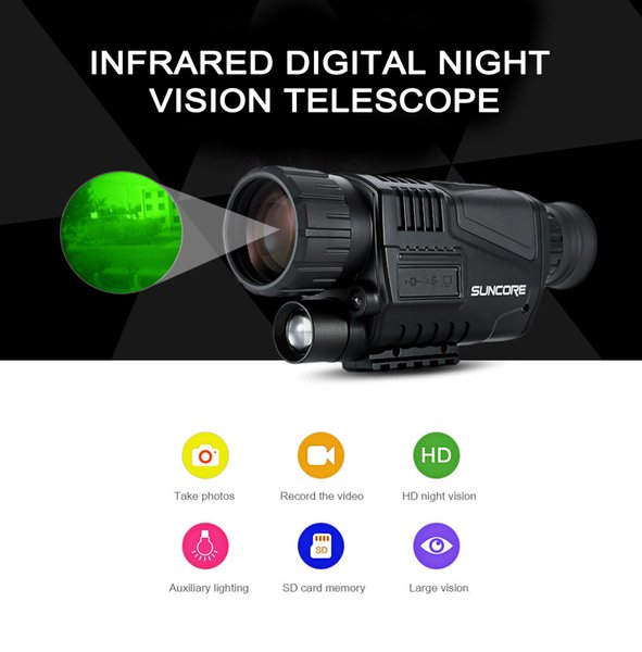 SUNCORE 5 x 40 Infrared Digital Night Vision Telescope High Magnification with Video Output Function Hunting Monocular 200m View