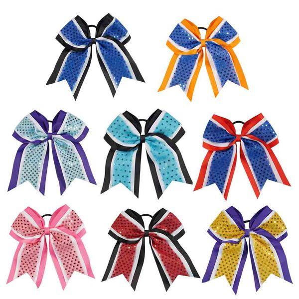 Hecho a mano de tres capas de lentejuelas de cinta Cheer se arquea con vendas elásticas Girls Cheerleading Boutique accesorios para el cabello 8pcs / Lot