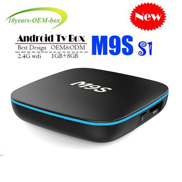 New M9S S1 Allwinner H3 Android TV Box 1GB 8GB Quad Core 100M Lan 2.4G WiFi 4K VP9 HDR10 IPTV Android Smart media player BETTER TX3 MXQ PRO