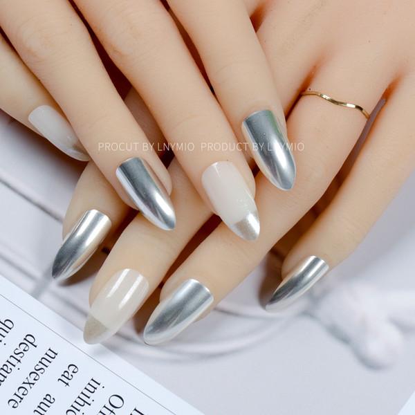 Fashion fake nails silver metal cool aritifical tip nail art 24Pcs