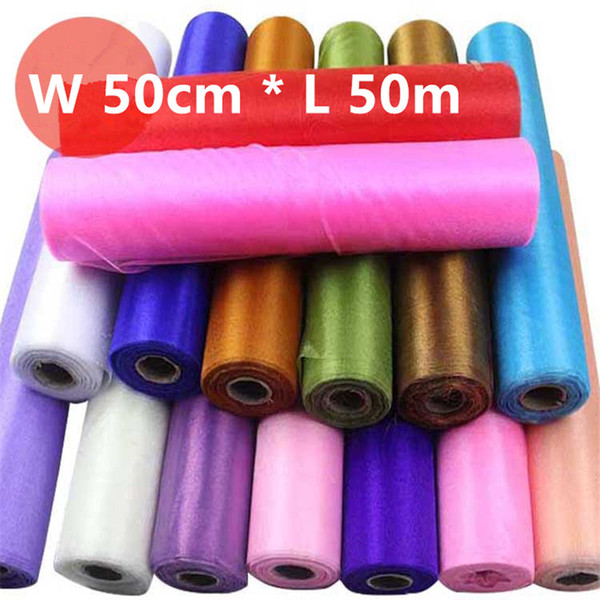 8Roll 50cm*50meters Wedding Table Runner Decoration Yarn Roll Crystal Tulle Organza Sheer Gauze Element Casamento Favors Supplies