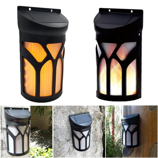 66 LED Luz Solar 3 Modo Parpadeo Llama Lámpara de pared Impermeable Paisaje decorativo luces de pared al aire libre para Sendero Patio