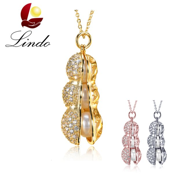 New Arrival Exquisite Unique Peanut Design Jewelry for Women Natural Freshwater Pearl Pendant Necklace with Gift Box
