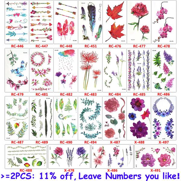 a9076168d glaryyears 25 Designs X 1 Sheet Colored Flower Tattoo Body Temporary Tattoo  Peony Makeup Arm Hand Leg Art Sticker Green Leaf DIY