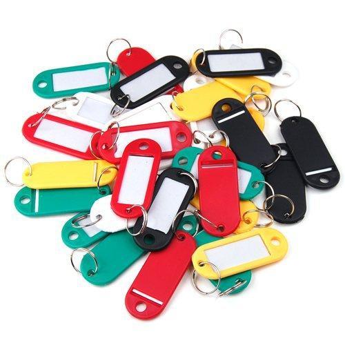 Wholesale-100 pcs/pack Plastic Key Ring ID Tags Name Card Label Language Fob Split Keychain