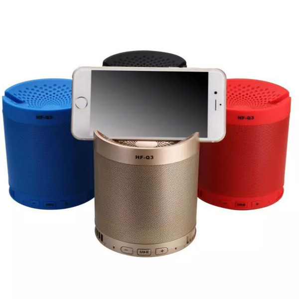 Multifunction Mini Bluetooth Speakers HF-Q3 With Cell Phone Holders Subwoofers with Mic Support FM Radio TF Card Speakers