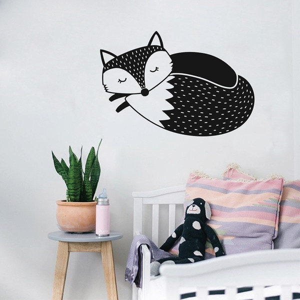 Removable Cute Woodland Sleepy Fox Vinyl Wall Sticker For Living room Kids Room bedroom home Decoration