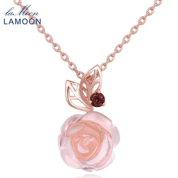 LAMOON Flor de Rosa 925 Collar de Cadena de Plata Esterlina Pendiente Para Las Mujeres 100% Piedras Preciosas Naturales Rosa Cuarzo Joyería Fina LMNI025