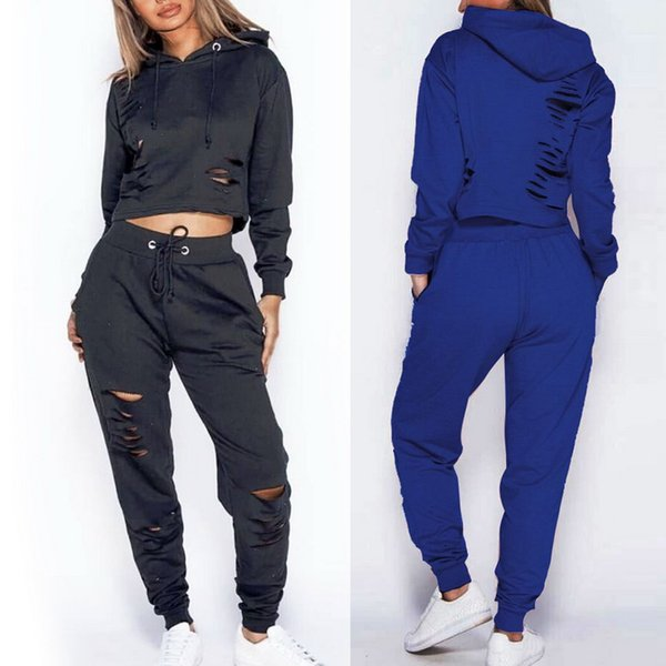 CALOFE Women's Running Sets Women's Solid Color Sports Set Slim Heights Cutout Training Jogging Sports Suits 2018 Autumn Winter