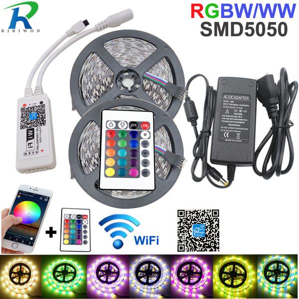 Wifi Controller 5050 RGB LED Strip Light Lamp 10M RGBWW RGBW Strip Neon Flexible Tape Diode Ribbon DC 12V Adapter Set String