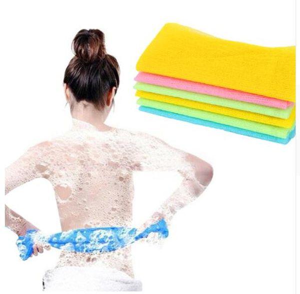 3pcs/lot Nylon Japanese Exfoliating Beauty Skin Bath Shower Wash Cloth Towel Back Scrub Body Cleaning Washing Sponges& Scrubbers