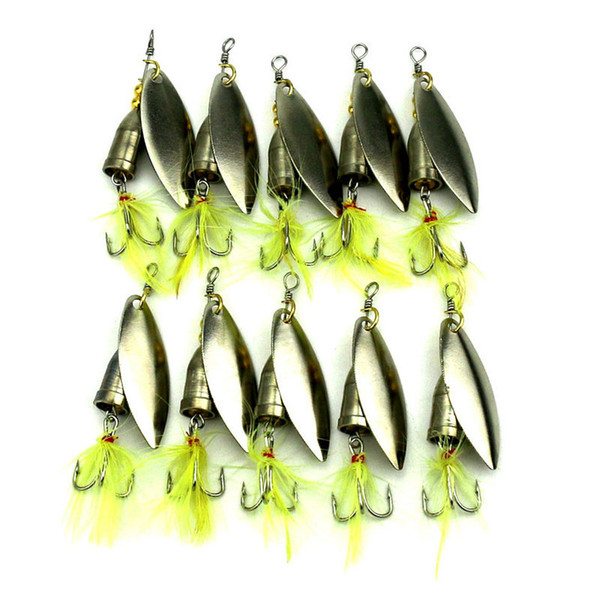 10PCS feather fishing hooks,Rooster Tail, Fishing Spinner Spoon Lures Rotatable Inline Bass Trout Fishing Tackle Baits 6G Spinners,Spinnerb