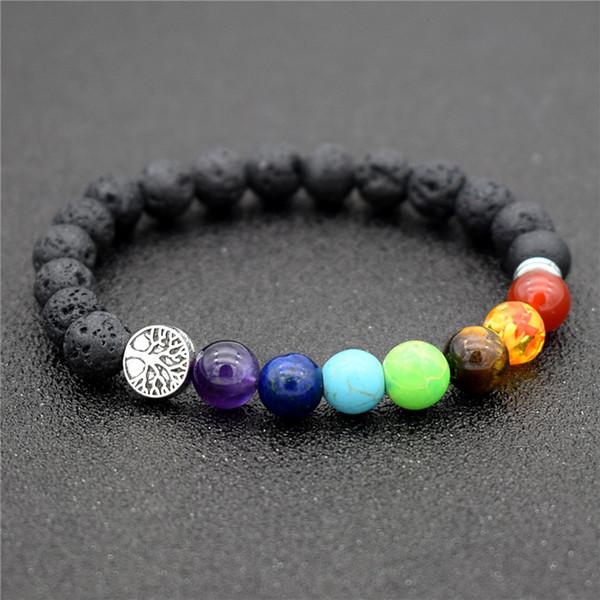 Tree of Life Charm 8mm Black Lava Natural Stone Beads 7 Chakra Buddhist Healing Chakra Pray Mala Bracelet Lucky Tree Jewelry