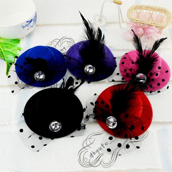 50pcs/lot 10cm Mini Kids Party Hat Bridal Feather Veil Hair Clip Wedding Birthday Party Costume Fancy Dress Free Shipping ZA4026
