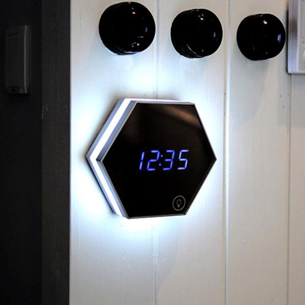 Gran Barato Electrónico Multifunción LED Luz de Noche Reloj de Pared Espejo Pantalla Digital Reloj Despertador Emisor de luz