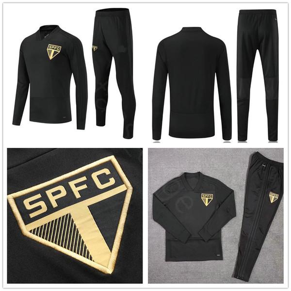 2018 2019 Club brasileño Sao Paulo Conjunto de chándal de fútbol Kit Chaqueta de fútbol negra Traje de entrenamiento Chandal de vigilancia Nombre personalizado Número
