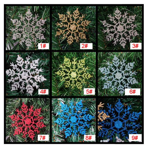 Flocon de neige en plastique paillettes ornements d'arbres de Noël pendentifs de neige décorations de Noël Nouvel An Noël décoration de fête