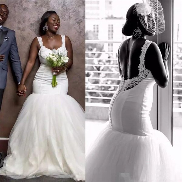 African Plus Size Wedding Dresses Sweetheart Lace Sexy Backless Mermaid Wedding Gowns Sleeveless Tulle Custom Made Beach Bridal Dress