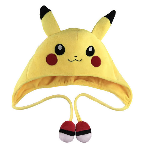 Cartoon Plush Toys Cute Animal Pikachu Hat Winter Children Cosplay Soft Warm Cap Long Earflap For Boys Girls