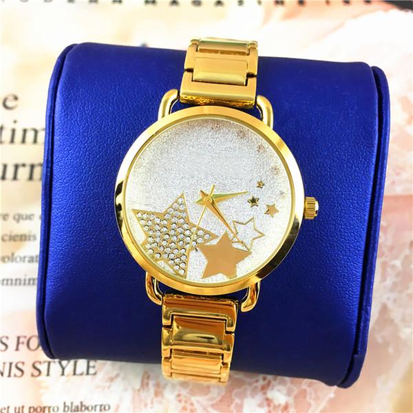 BlingBling Star Shinning Dial Women watch Golden Color Belt Lady Wristwatch Steel Bracelet Chain Drop Shipping Luxury Diamonds Shine Jewelry