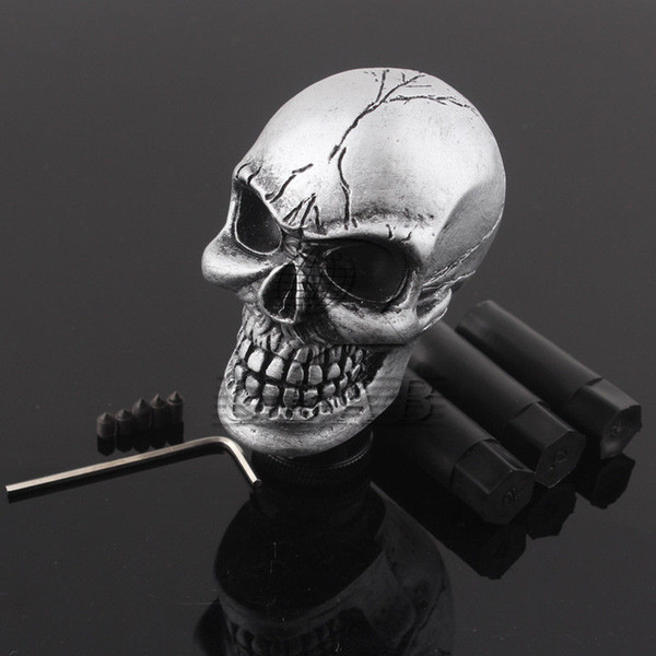 best selling Universal Manual Car Gear Stick Shifter Knob Shift Lever Carved Skull Silver New