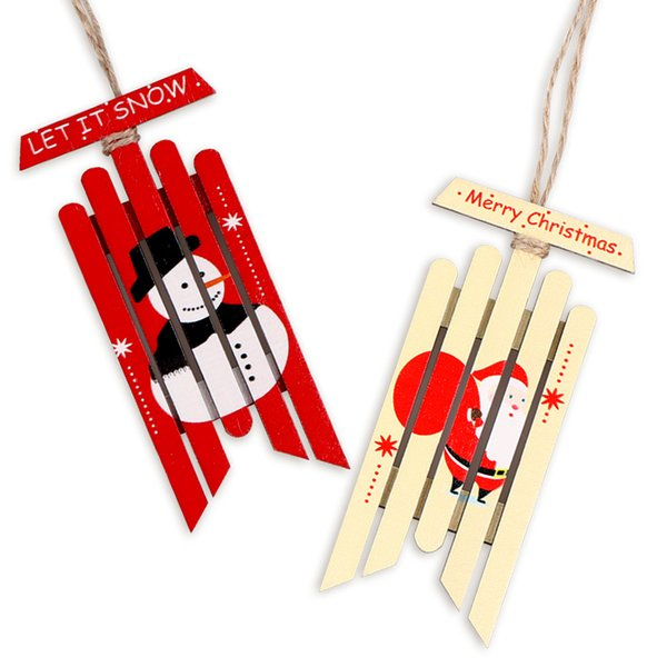 2Pcs Vintage Wooden Sled Christmas Ornaments Santa Claus Snowman Pattern New Year Gift Tag Christmas Tree Decorations