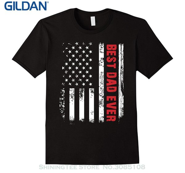 Wholesale discount Tee Shirts Men O neck Tees Men's Best Dad Ever American Flag Tshirt For Fathers Day