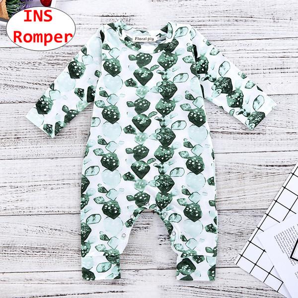 INS Baby Green Print Strampler Kleinkind Unisex Langarm-Overall Kinder Sommer Herbst Body mit Knopf