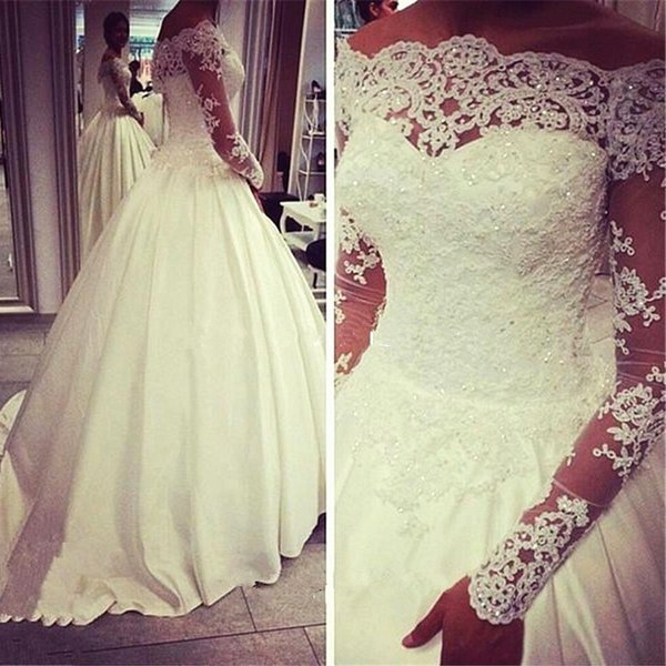 Glorious Shining Boat Neck Ivory Ball Gown Wedding Gowns With Chapel Train Full Sleeve Off The Shoulder Lace Wedding Dress