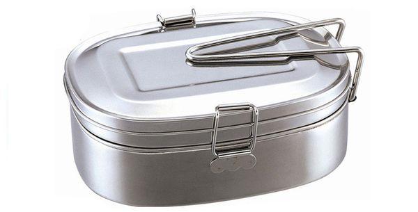 Lunch box in metallo per alimenti in acciaio inox a doppio strato Set da pranzo ecologico in lavastoviglie, senza BPA