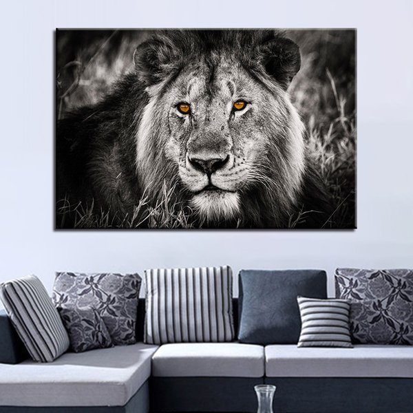 Canvas Pictures Home Decor For Living Room HD Prints 1 Piece/Pcs Black White Lion Face Painting Animal Poster Wall Art Framework