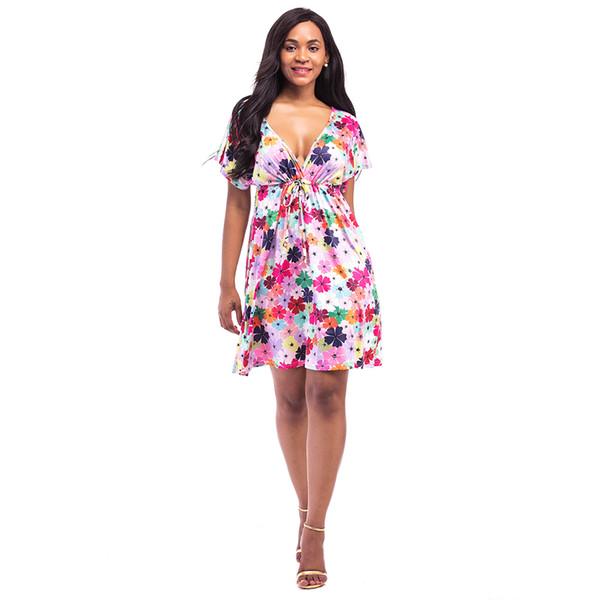Women Plus Size Floral Plaids Dress Deep V Neck V Back Beach Tunic Dress  Short Sleeves Elastic High Waist Summer Dress Female Long Sleeve Short ...