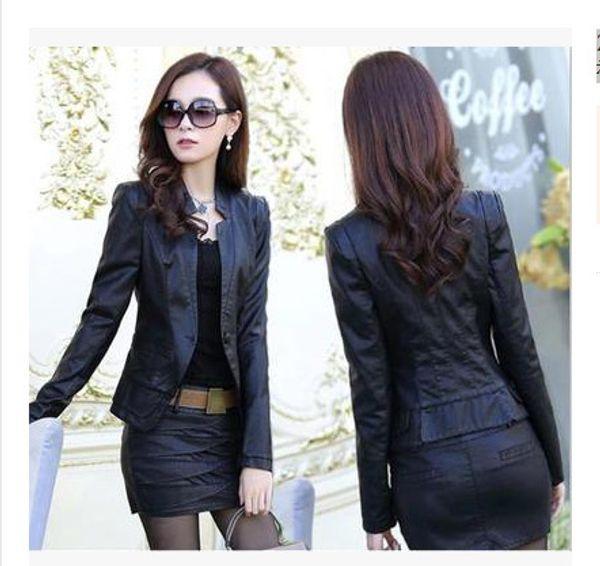 Tops+skirts Spring Fashion PU Leather Jacket 2018 Korean Autumn Slim Locomotive Short coat Lady Faux Leather Jacket XXXL
