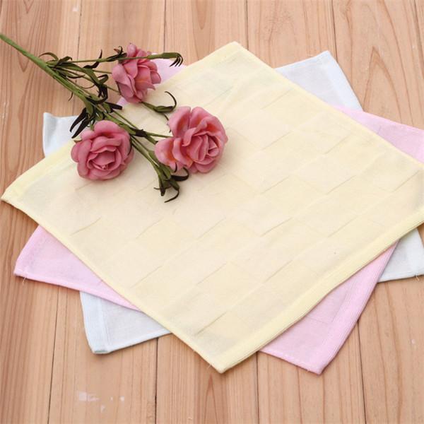 100% Cotton Double Layer Gauze Solid Color Square Towel Children's Handkerchief Small Towels Saliva Towel D0513