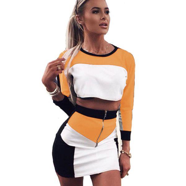 Farben Patchwork Mode Zweiteilige Kleid Frauen 2018 Herbst Langarm Cropped Tops Bodycon Röcke Robe Frauen Sets