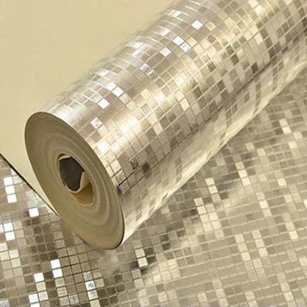 Paillettes PVC Fonds D'écran Rouleaux Doré Feuille D'argent Papier Peint Miroir Mosaïque Étincelle 3D Fonds d'écran pour Salon Décor À La Maison