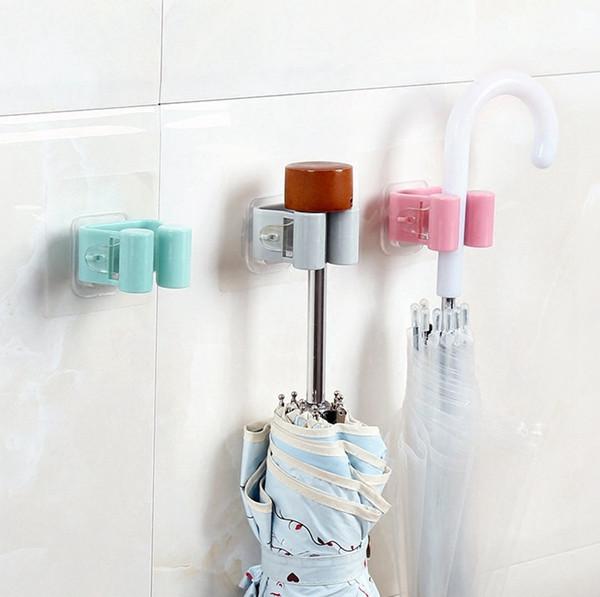 Creative 4 colors Traceless Sucker Hook Plastic Broom Mop Holder Wall Door Hanger Kitchen Bathroom Tool Organizer Suction Cup Storage Rack