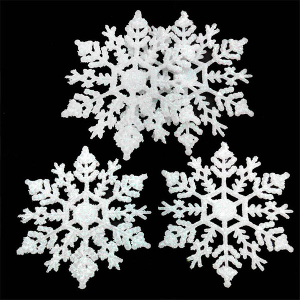 Christmas Tree Snowflakes Decorations Xmas Tree Hanging Snowflakes Ceiling Party Ornaments White Glitter Outdoor Snowflake for Party Ornamen