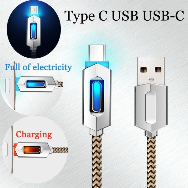 Smart intelligent led zinc alloy braided 1m 3ft 2a fa t charging micro type c u b cable for am ung 6 7 8 note 7 8 android phone 6 7