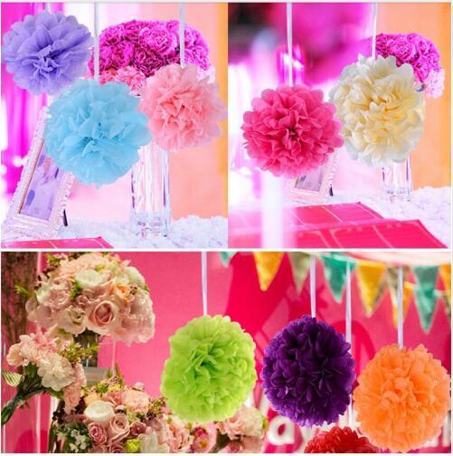 PomPoms Tissue Paper Artificial Flowers Balls Wedding Decoration Crafts Party Home Supplies Pom Pom Decorative festival decorating tools