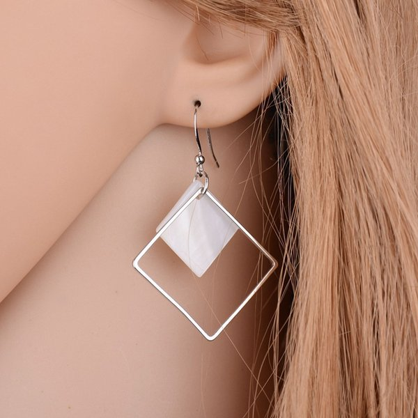 Fashion Earrings For Women Jewelry Brincos 2018 New Minimalist Brief Cool Style Silver Plated Alloy Square White Shell Dangle 10pcs Random