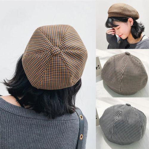 2019 New Style Vintage Plaid Beret Women Girl Winter Warm Beret Hat ... 9bf6b202d939