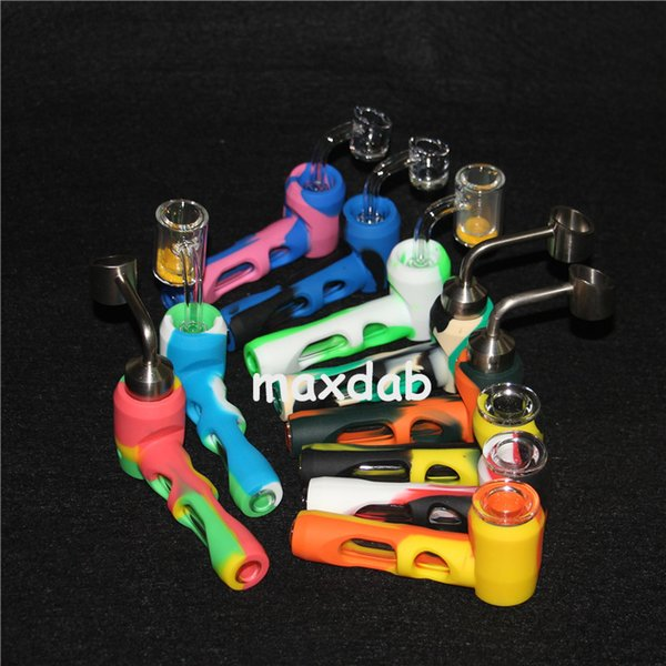 New Colorful Silicone Glass Smoking Pipe Hammer Shape Mini Dry Herb Hand Tube Innovative Design with 4mm thickness quartz nails ti nails