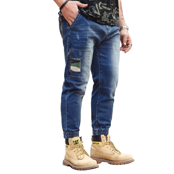 Blue Elastic Hot Sale Casual Harem Slim Jeans denim di buona qualità 130KG Men Wear 2018 Spring Men Jeans Elastic Beam Jeans gamba
