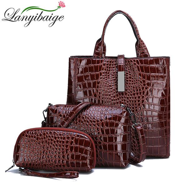 New Ladies HandBags Brand 3-piece Woman Big Tote Shoulder Bag Luxury Crocodile Pattern Leather Lady Messenger Bag With Wallet