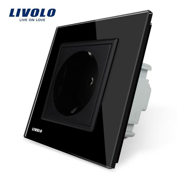 2018 EU Power Socket, Black Crystal Glass Panel, 16A EU Standard Wall Outlet without Plug VL-C7C1EU-12