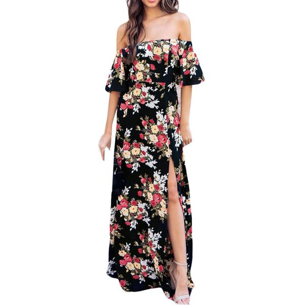 63b32aad837 Charming Womens Maxi Long Dress sexy Off Shoulder Flower Print Short Sleeve  Casual Fashion Sexy split summer beach Dresses
