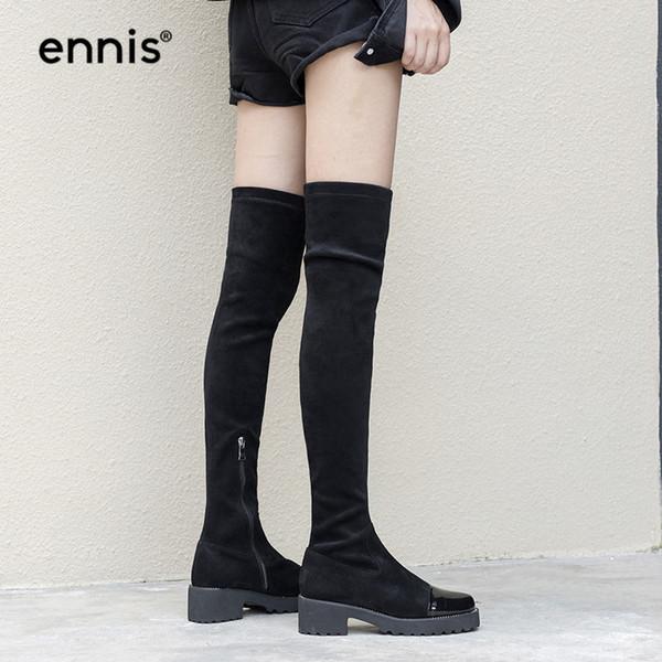 Compre ENNIS 2018 Negro Flock Stretch Botas Plataforma Mujer Rodilla Botas Altas Invierno Otoño Sobre La Rodilla Larga Med Talón Zip Shoes L844 A
