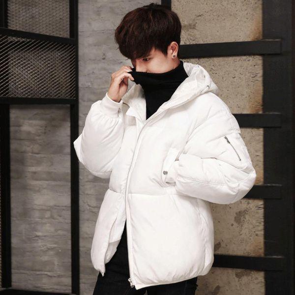 Acquista Moda Uomo Nero Piumino Piumino Caldo Inverno Leggero Soprabito Outwear Imbottito Pesante Piumino Con Cappuccio Giovane Maschio Bianco